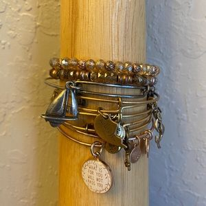 Bundle lot 7 Alex & ani bracelets w/ beads charms